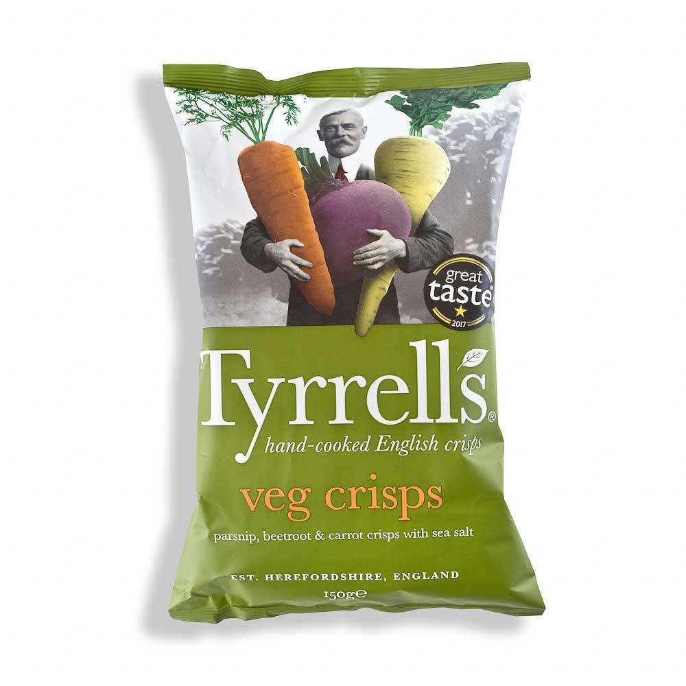 Pastarnokų, burokėlių ir morkų traškučiai TYRRELLS su jūros druska 150g