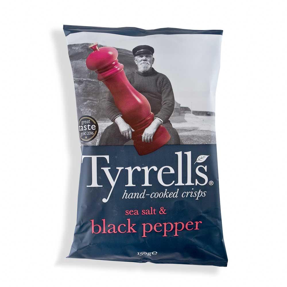Bulvių traškučiai TYRRELLS su jūros druska ir stambiai maltais juodaisiais pipirais 150g