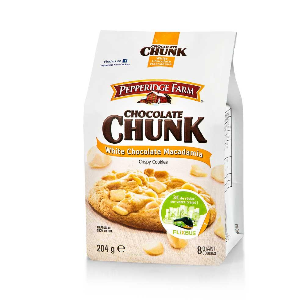 Sausainiai PEPPERIDGE FARM su baltojo šokolado gabaliukais ir makadamijos riešutais, 204g