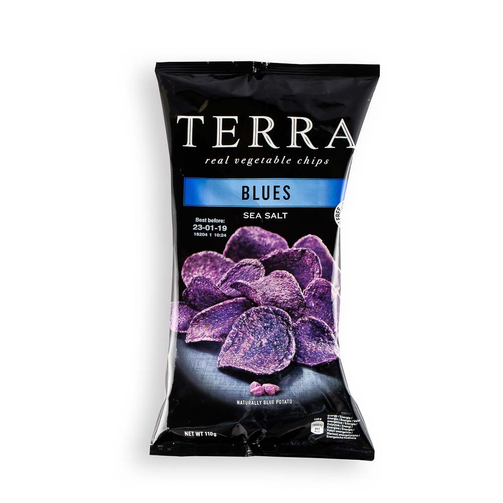 Mėlynųjų bulvių traškučiai TERRA su jūros druska (be glitimo), 110g