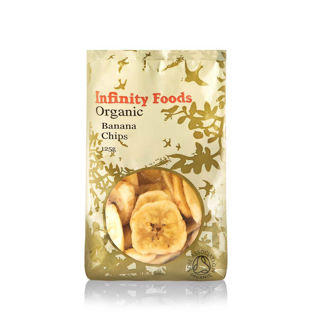 INFINITY FOODS Ekologiški džiovinti bananai,125g