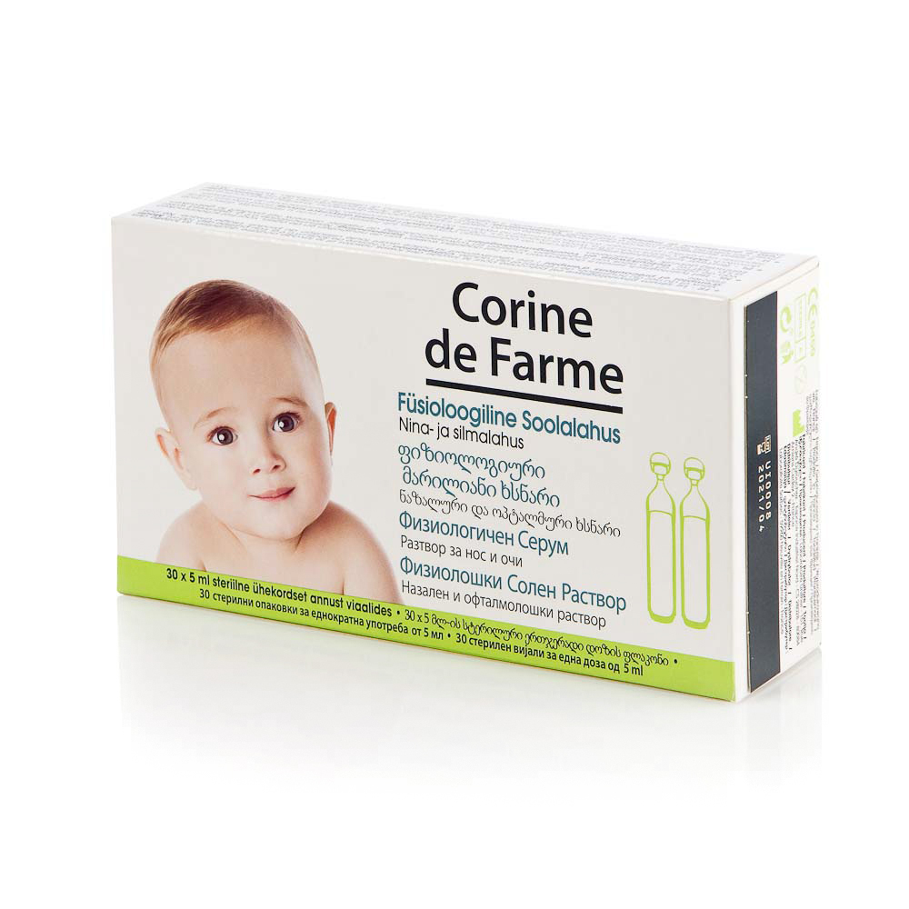 Fiziologinis serumas CORINE DE FARME nosiai ir akytėms 30×5 ml, 1 vnt.