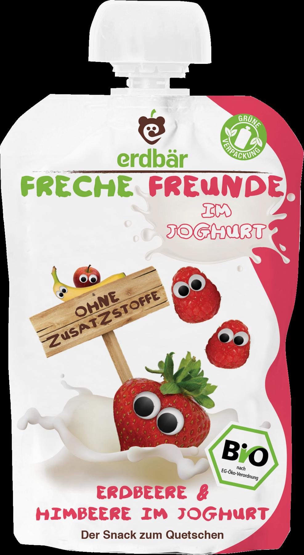Ekologiška braškių, aviečių ir jogurto tyrelė FRECHE FREUNDE, 100 g
