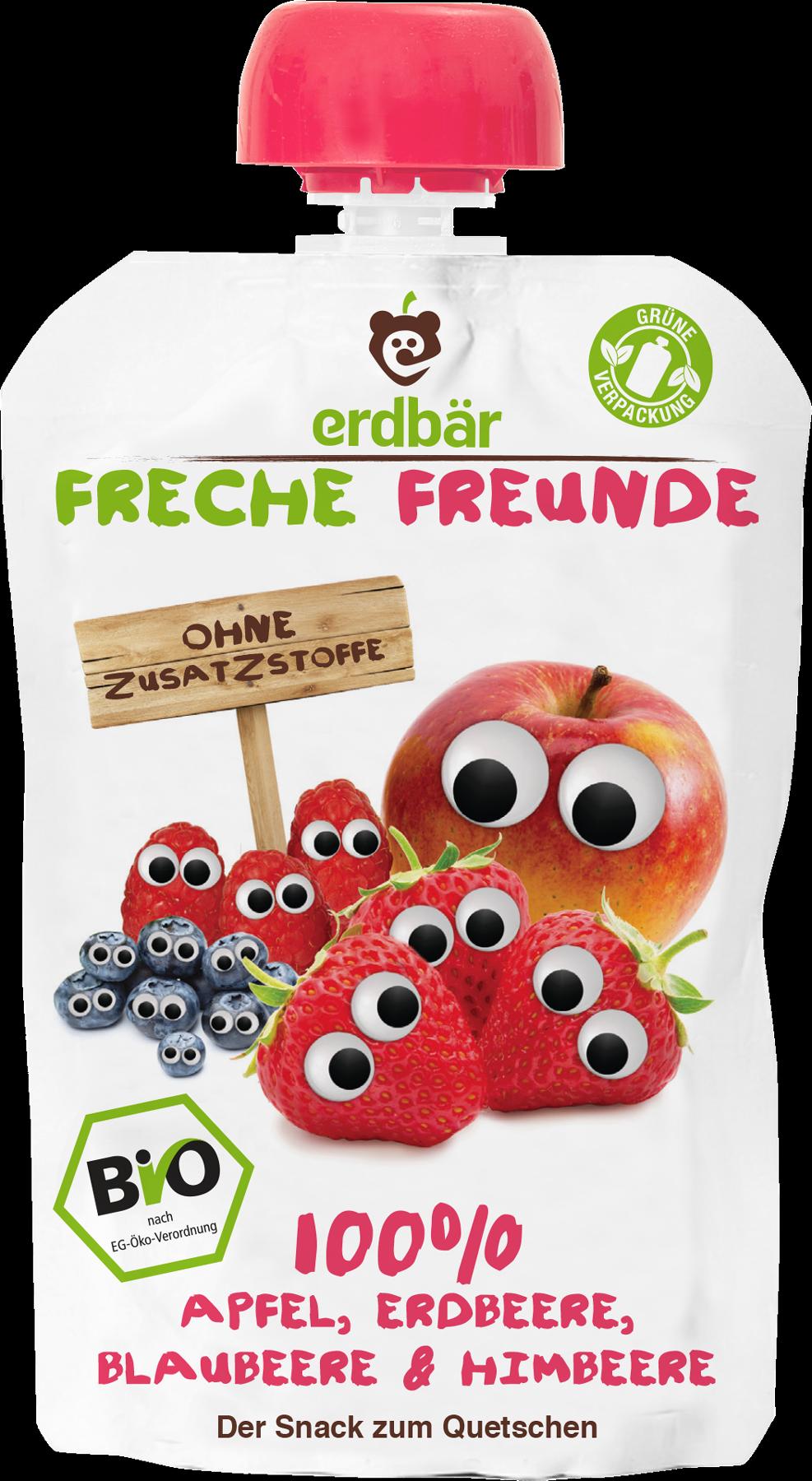 Ekologiška obuolių, braškių, mėlynių ir aviečių tyrelė FRECHE FREUNDE, 100 g