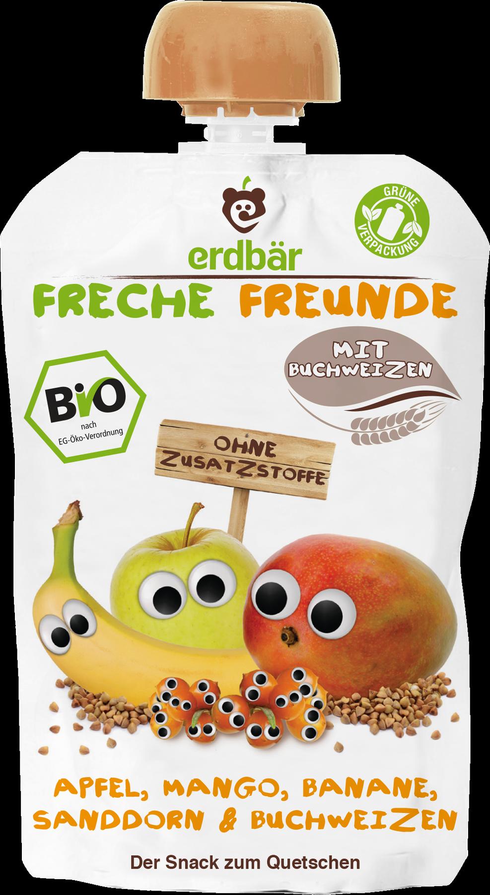 Ekologiška obuolių, mangų, bananų, šaltalankių ir grikių tyrelė FRECHE FREUNDE, 100 g