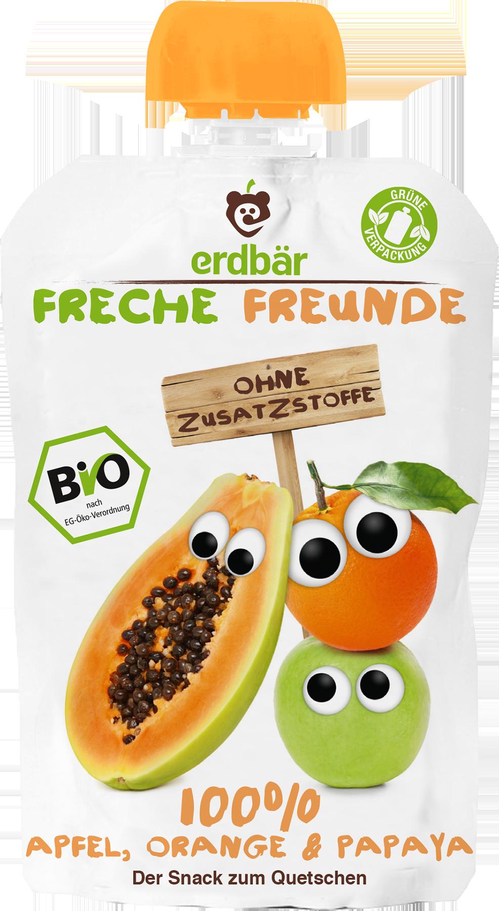 Ekologiška obuolių, apelsinų ir papajų tyrelė FRECHE FREUNDE, 100 g