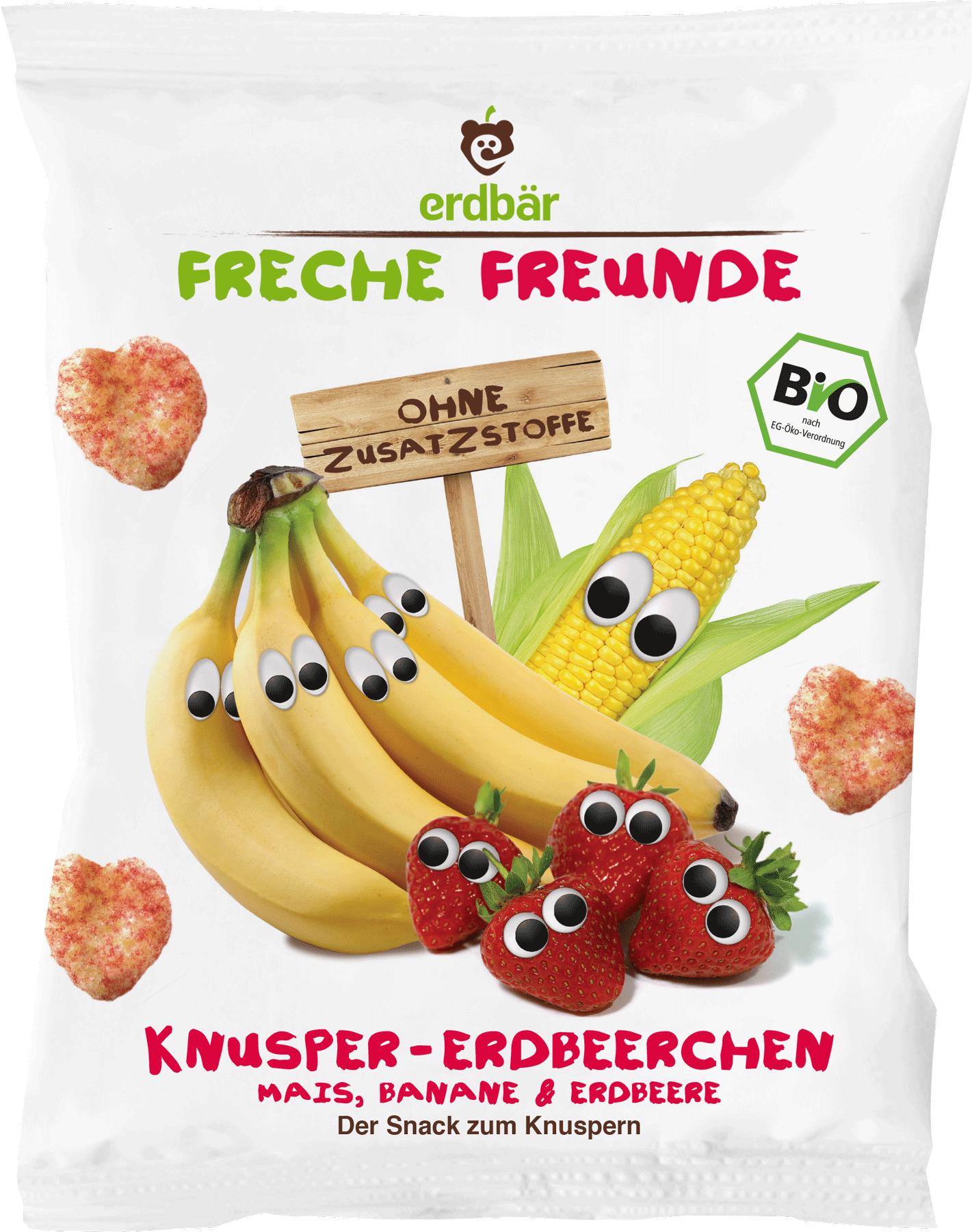 Ekologiški kukurūzai-širdelės su bananais ir braškėmis FRECHE FREUNDE, 25 g