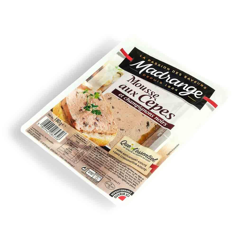 Kepenėlių putėsiai su baravykais ir rudaisiais pievagrybiais MADRANGE, 180 g