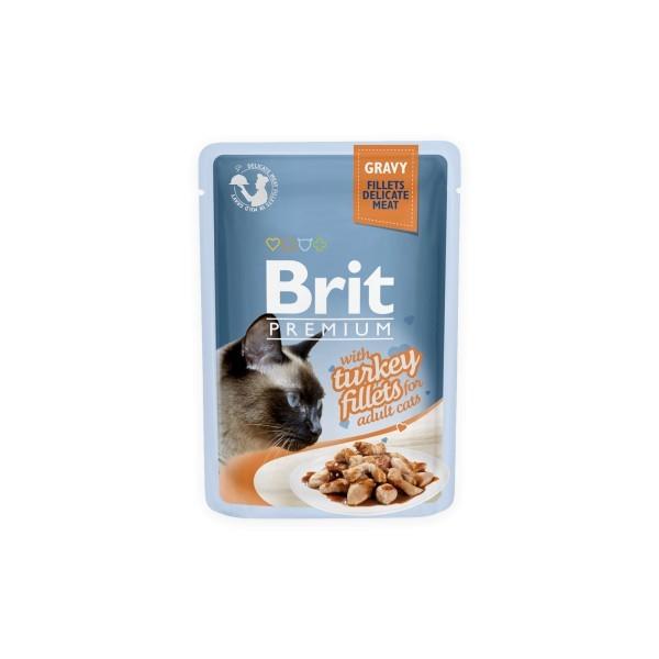 Konservas katėms BRIT PREMIUM Cat Delicate Turkey in Gravy, 85 g