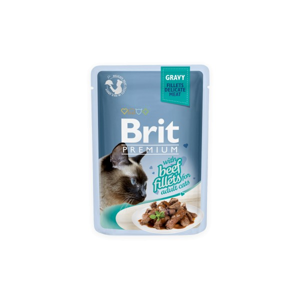 Konservas katėms BRIT PREMIUM Cat Delicate Beef in Gravy, 85 g