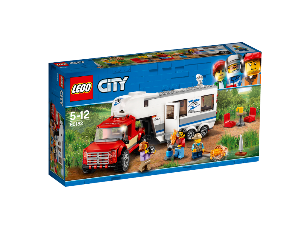 Automobilis ir namelis ant ratų LEGO CITY 5 – 12 metų vaikams (60182)