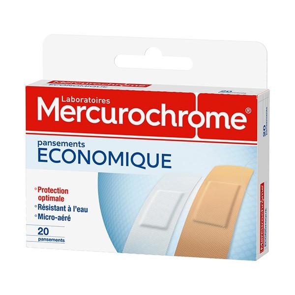 Universalių pleistrų rinkinys MERCUROCHROME ECONOMIQUE, 20 vnt.