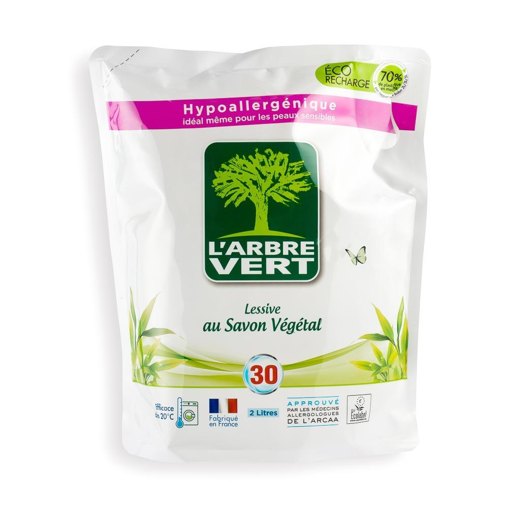 Ekologiškas skystasis skalbiklis L'ARBRE VERT su augaliniu muilu (papildymas), 2 l