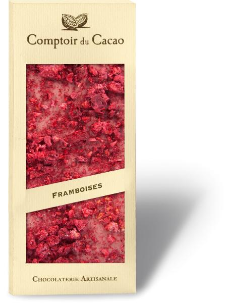 Rožinis šokoladas COMPTOIR du CACAO, su avietėmis, 90 g