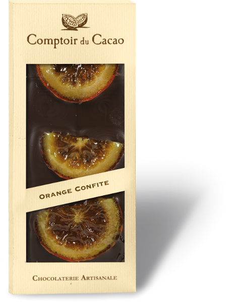 Juodasis šokoladas COMPTOIR du CACAO, su apelsinų riekelėm, 90 g