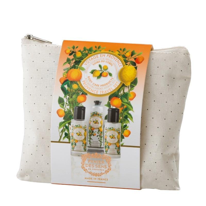Kelioninis rinkinys PANIER DES SENS su citrinomis, kiečiais ir kiparisais (dušo želė, kūno losjonas, rankų kremas), 3 vnt.