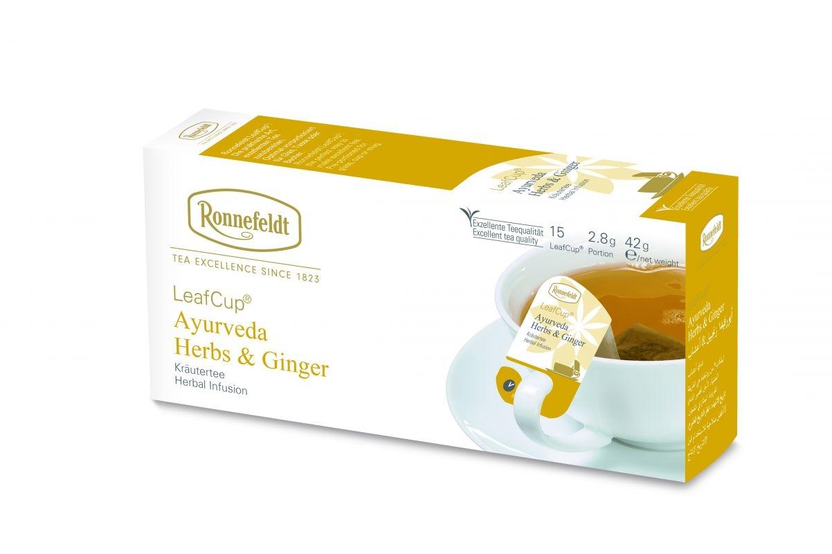 Žolelių arbata LeafCup® Ajurveda Herbs & Ginger 15 vnt.