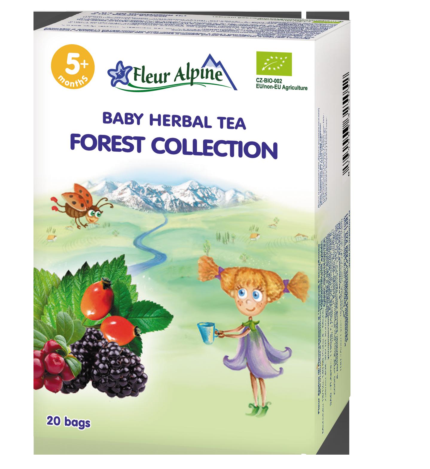Ekologiška ŽOLELIŲ arbata UOGŲ RINKINYS, kūdikiams nuo 5 mėn. FLEUR ALPINE, neto masė 30g (20 pakelių vokeliuose)