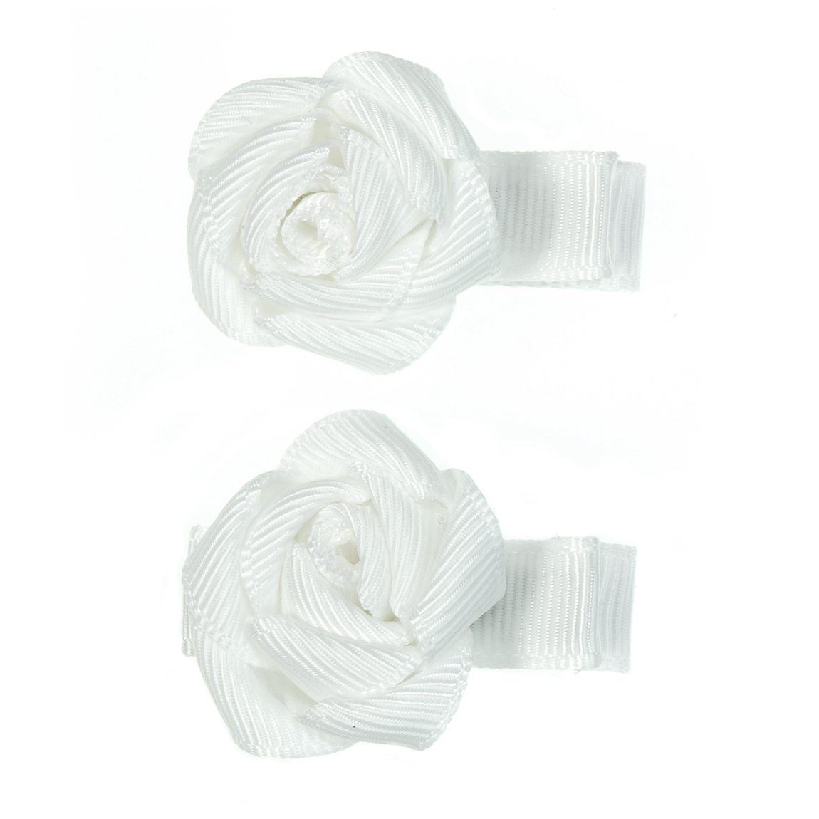 """MINI MISS Kaspinėliai """"Baltos mini roželės"""" su metaliniais segtukais, 2 vnt."""