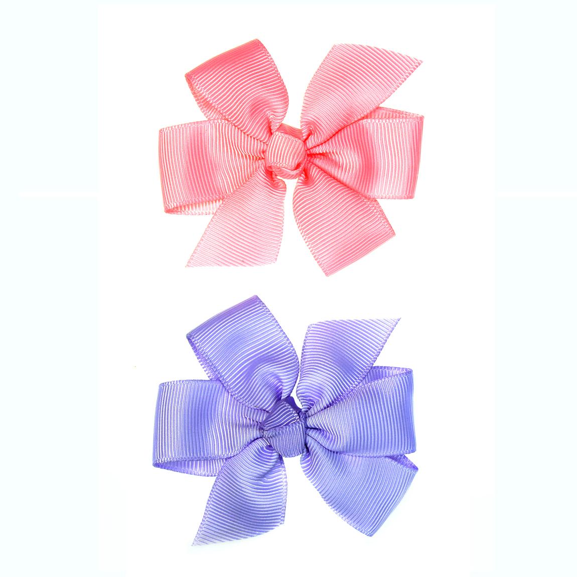 """MINI MISS Kaspinėliai """"Rožinė+Violetinė"""" su plastikiniais segtukais, 2 vnt."""