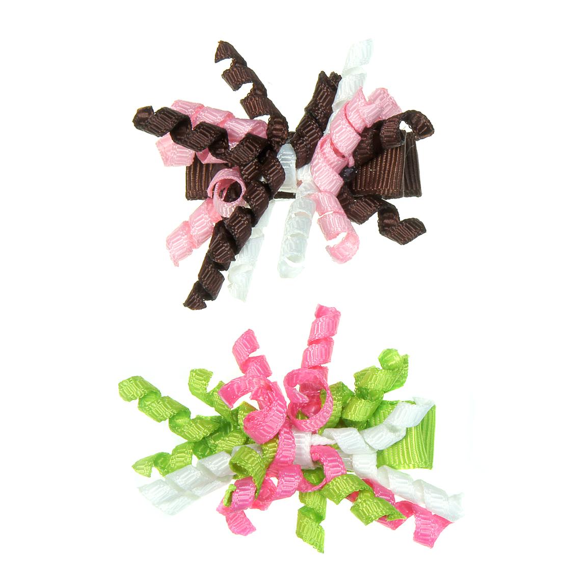 """MINI MISS Kaspinėliai """" Mini garbanėlės"""" su metaliniais segtukais, ruda/salotinė, 2 vnt."""