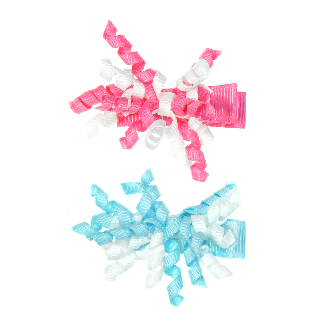 """MINI MISS Kaspinėliai """" Mini garbanėlės"""" su metaliniais segtukais, rožinė/žydra, 2 vnt."""