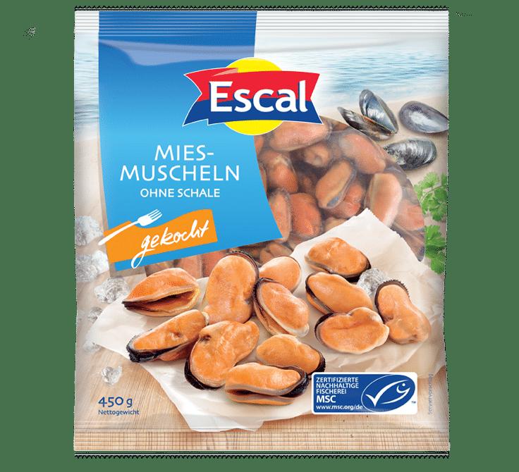 Šaldytos glazūruotos virtos midijos be geldelių ESCAL, 450 g