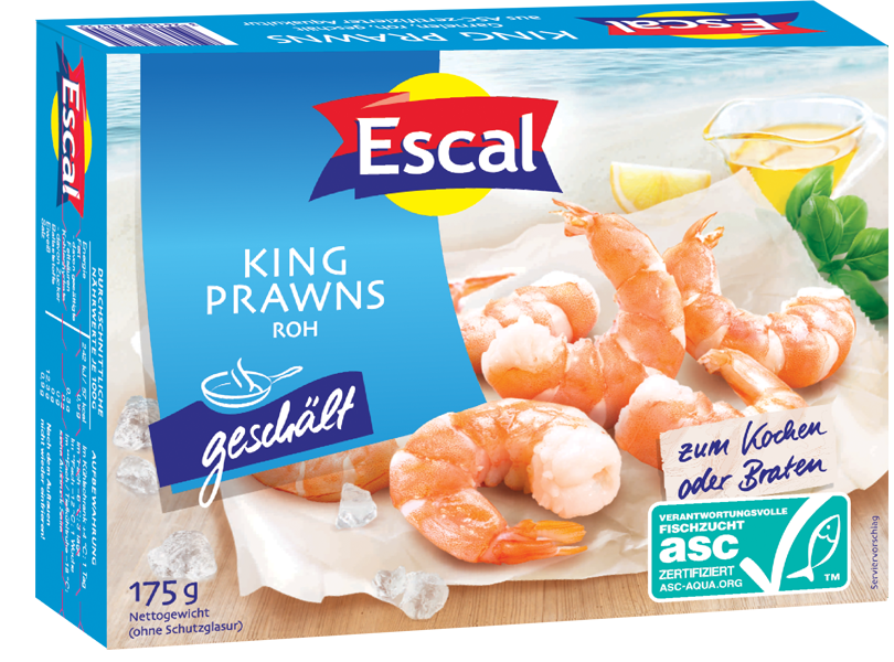 Baltakojės blyškiosios krevetės be kiauto, nevirtos 40/60 ESCAL, 175g