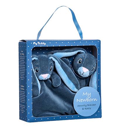 Minkštų žaisliukų rinkinys-dovana su mėlynu triušiu MY TEDDY (NBBG-1), 1 vnt.