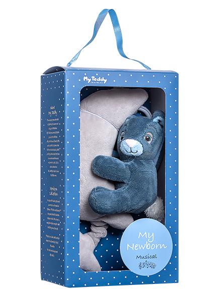 Minkštas muzikinis žaisliukas su mėlynu triušiuku MY TEDDY (NBBM), 1 vnt.