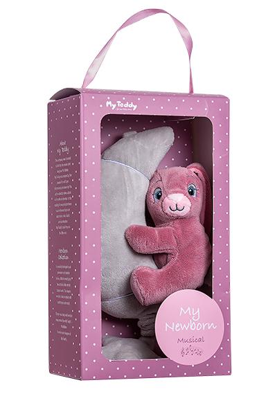 Minkštas muzikinis žaisliukas su rožiniu triušiuku MY TEDDY (NBPM), 1 vnt.