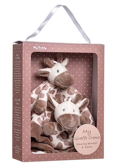 Minkštų žaisliukų rinkinys-dovana su barškučiu MY TEDDY Giraffe Creme (MGCG), 1 vnt.
