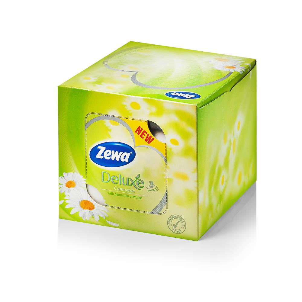 Kosmetinės servėtėlės ZEWA Deluxe Camomile (3 sluoksniai), 60 vnt.