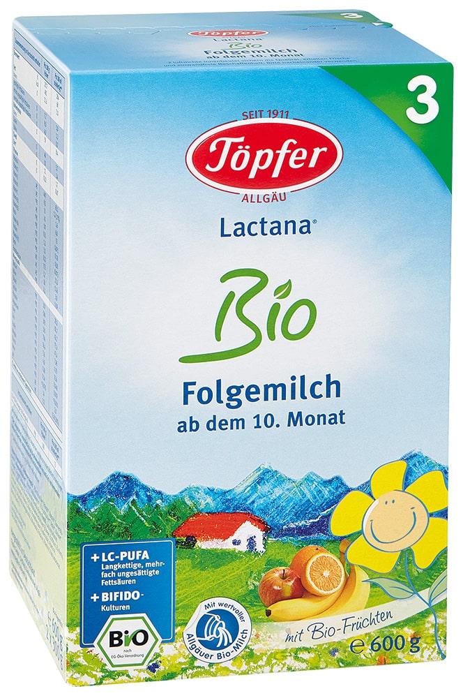 TÖPFER LACTANA Bio 3 ekologiškas probiotinis tolesnio maitinimo pieno mišinys, kūdikiams nuo 10 mėn., neto masė 600g