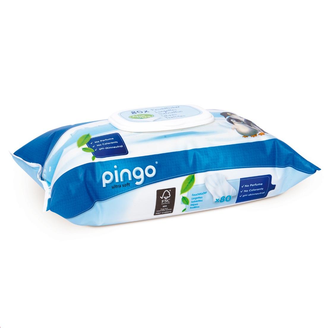Drėgnos servetėlės PINGO su alaviju ir ramunėlėmis, 80 vnt.