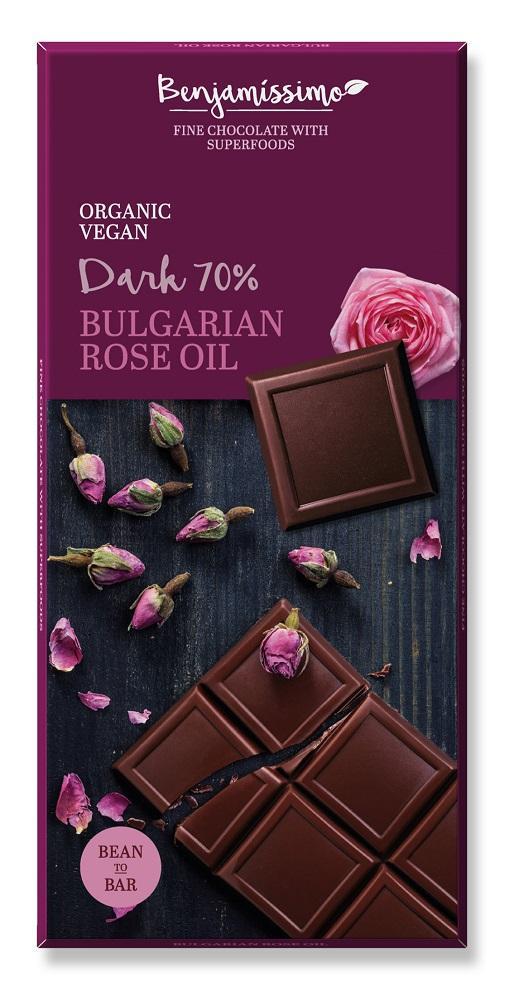 Ekologiškas juodas šokoladas 70% BENJAMISSIMO su Bulgarijos rožių aliejumi, 70 g