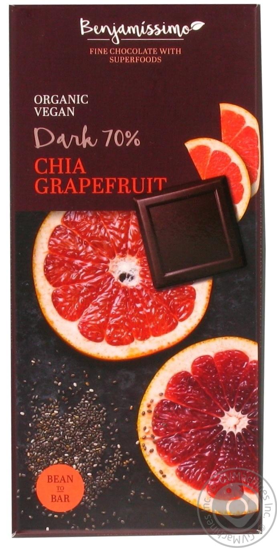 Ekologiškas juodas šokoladas 70% BENJAMISSIMO su chia sėklomis ir greipfrutais, 70 g