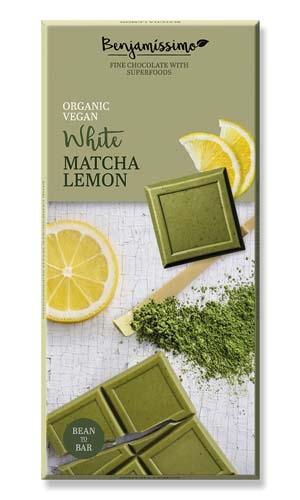 Ekologiškas baltas šokoladas BENJAMISSIMO su macha arbata ir citrinomis, 70 g