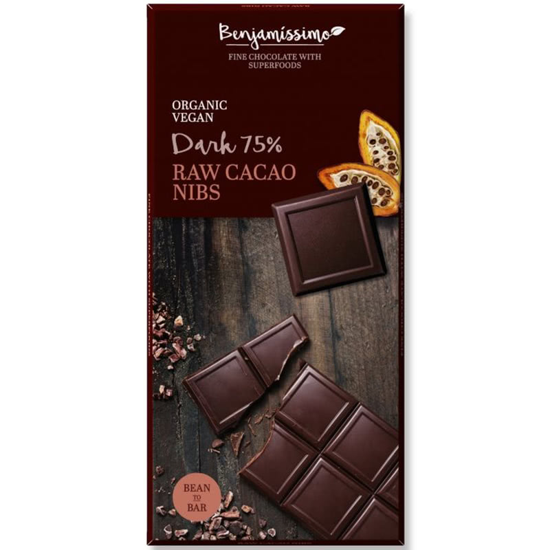 Ekologiškas juodas šokoladas 75% BENJAMISSIMO su kakavos pupelėmis, 70 g