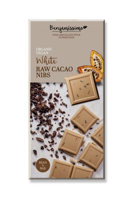 Ekologiškas baltas šokoladas BENJAMISSIMO su kakavos pupelėmis, 70 g