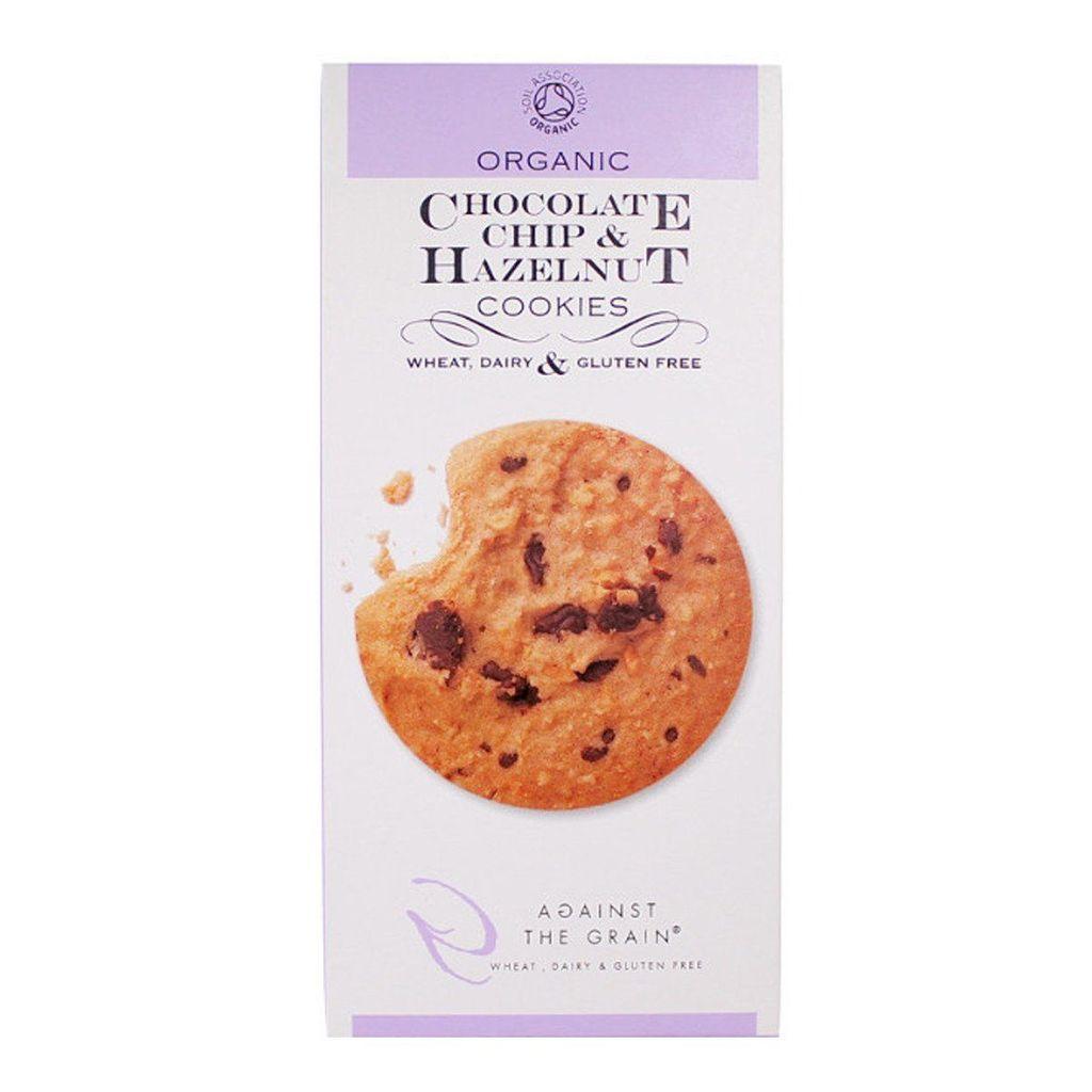 Ekologiški sausainiai AGAINST THE GRAIN su šokoladu ir lazdyno riešutais, 150 g