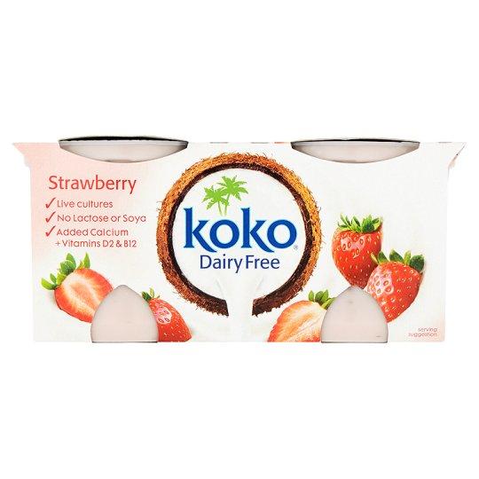 Braškių skonio desertas KOKO (2x125g) be laktozės ir sojos, su kalciu bei vitaminais