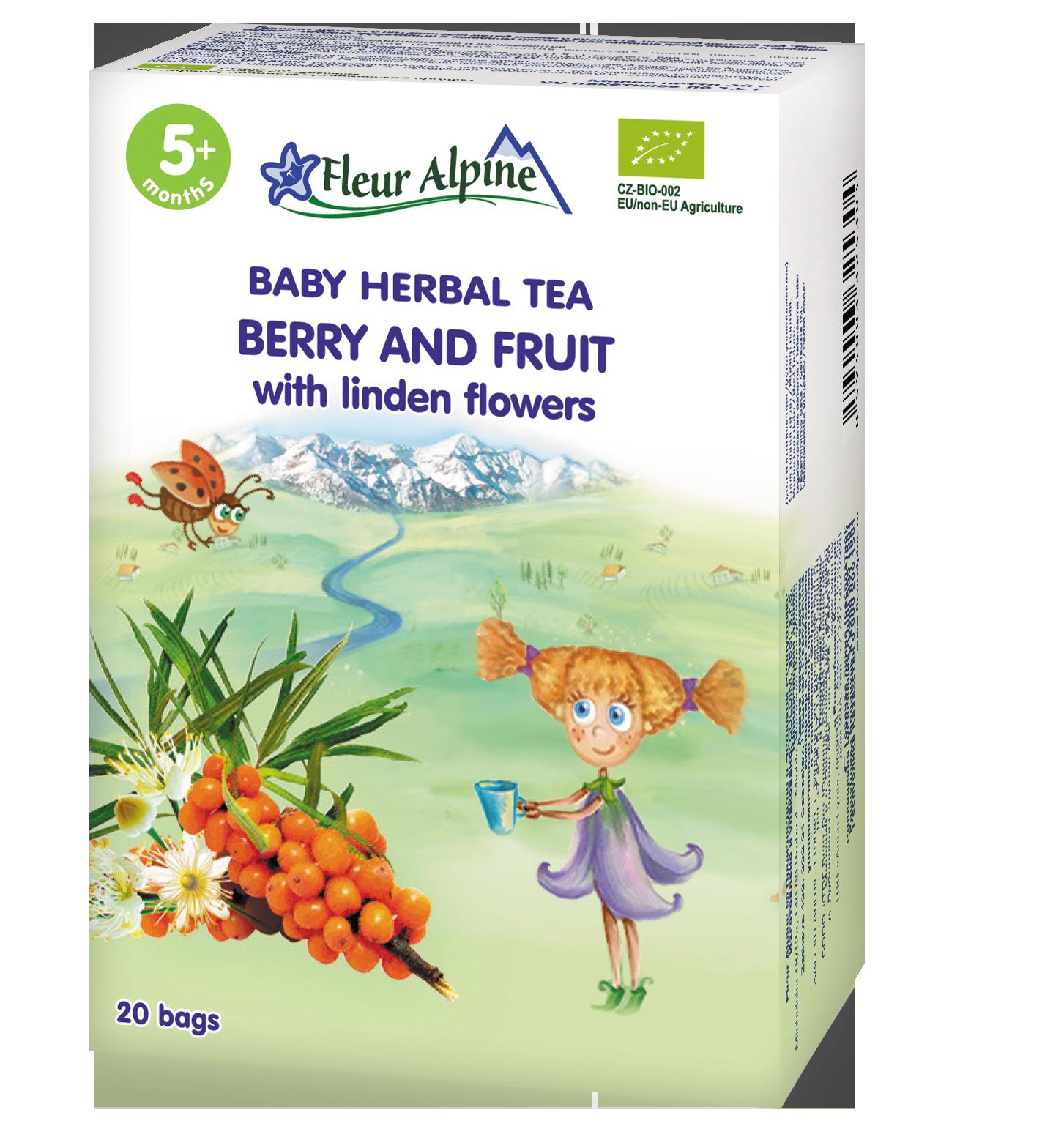 Ekologiška uogų ir vaisių arbata FLEUR ALPINE su liepų žiedais, kūdikiams nuo 5 mėn., 30g (20 pakelių vokeliuose)