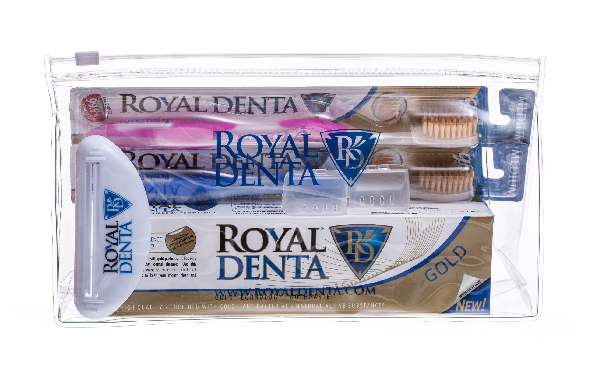 ROYAL DENTA rinkinys GOLD GO (Gold dantų pasta + 2 Gold Medium šepetukai + dantų pastos išspaudėjas + kosmetinė)