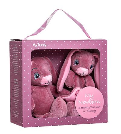 Minkštų žaisliukų rinkinys-dovana su rožiniu triušiu MY TEDDY (NBPG-1), 1 vnt.