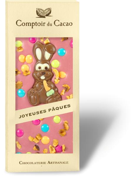 Rožinis šokoladas COMPTOIR du CACAO, su velykine dekoracija, 90 g