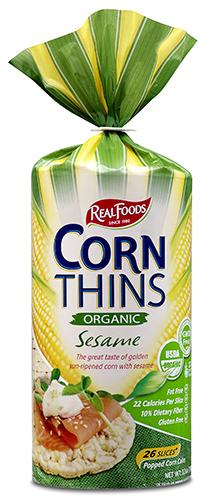 Ekologiški kukurūzų trapučiai REAL FOODS su sezamais, 150g
