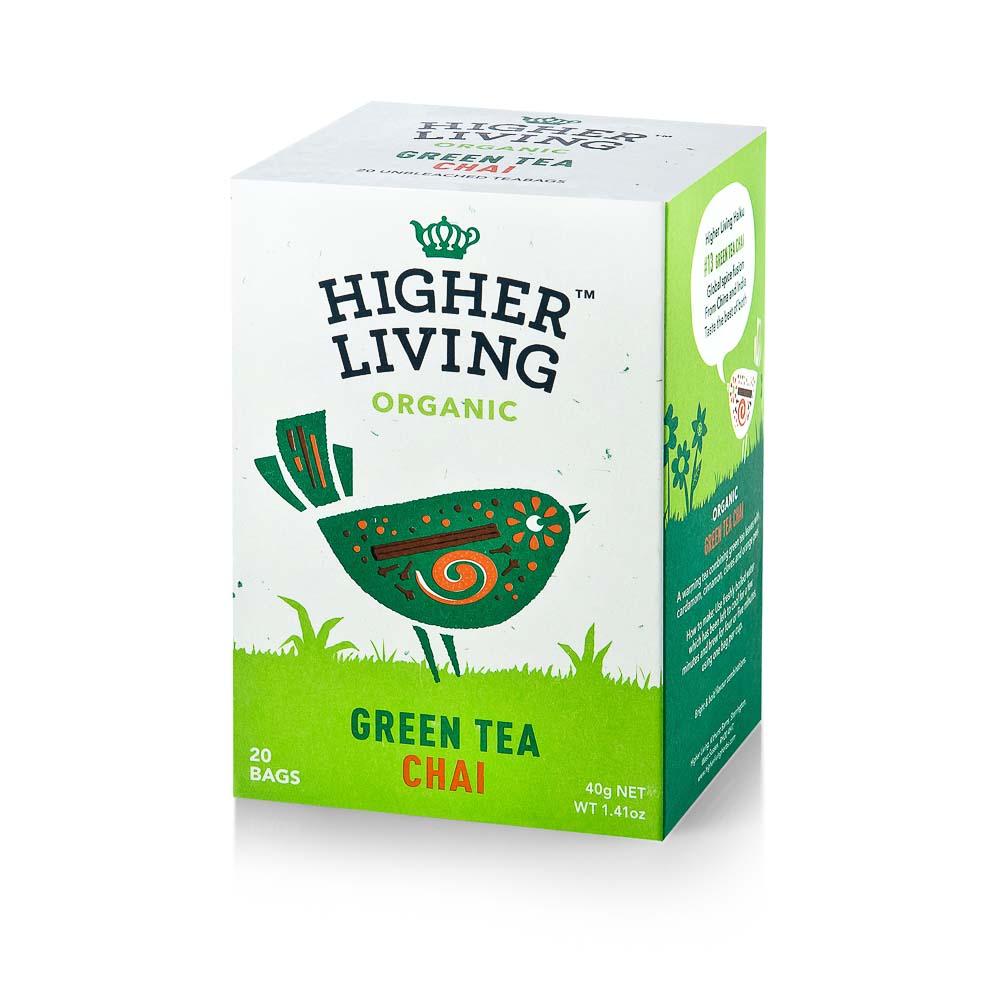 Ekologiška arbata HIGHER LIVING GREEN TEA CHAI 40g