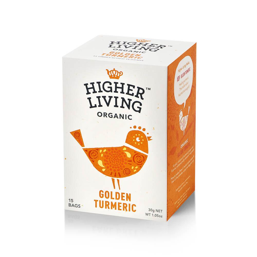 Ekologiška arbata HIGHER LIVING GOLDEN TURMERIC 30g