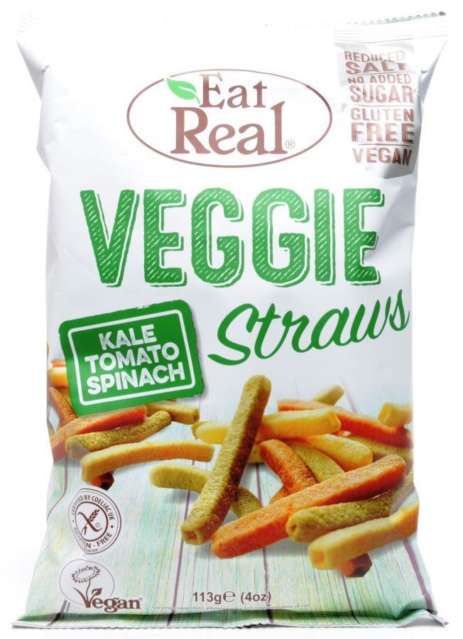 Daržovių šiaudeliai EAT REAL, lapinių kopūstų, pomidorų ir špinatų skonio 113g